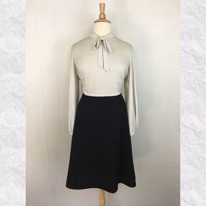 Vintage Polka Dot Pussy Bow A-Line Dress